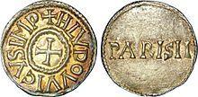 Denier sous Louis 1° le Pieux  frappé à Paris - LOUIS 1°- 6) DU REMARIAGE (819) AU REPARTAGE (829), 4: Très vite, LOTHAIRE, bien que parrain de CHARLES, refuse toute modification des décisions de 817 et rassemble autour de lui plusieurs aristocrates, formant un parti de l'unité impériale: un grand nombre d'évêques en Gaule, en particulier JONAS D'ORLEANS, FREDERIC D'UTRECHT, ainsi que les comtes HUGUES DE TOURS (son beau-père), MATFRID D'ORLEANS et LAMBERT DE NANTES.