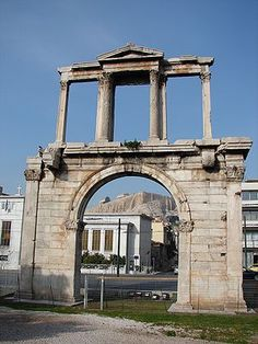 The Arch of Hadrian is a monumental gateway resembling – in some respects – a Roman triumphal arch. It spanned an ancient road from the cent. Ancient Greece Lessons, Ancient Greece For Kids, Ancient Greece Clothing, Ancient Greece Fashion, Greece Architecture, Ancient Architecture, Roman Architecture, Ancient Buildings, Greece History