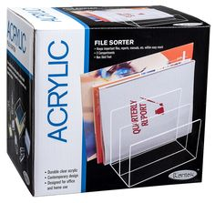 Amazon.com : Kantek Acrylic File Sorter, 8 x 6 1/2 x 7 1/2 Inches, Clear (AD45) : Clear Acryclic Desk File : Office Products