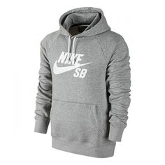 Nike SB Icon Pullover Sweatshirt Dark Grey Heather/White ($60) ❤ liked on Polyvore featuring tops, hoodies, sweatshirts, white pullover, sweatshirt hoodies, pullover sweatshirts, logo sweatshirts and sweatshirt pullover