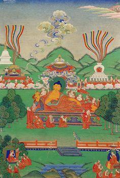 Shakyamuni Buddha - Life Story - Asian Art Museum of San Francisco - Tibet Tibetan Mandala, Tibetan Art, Tibetan Buddhism, Buddha Kunst, Buddha Art, Vajrayana Buddhism, Buddha Life, Thangka Painting, Buddhist Traditions