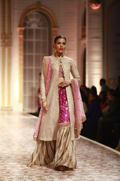 Pink, Cream, & Gold Asian Indian Fashion by Meera & Muzaffar Ali