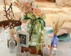 Foral arrangment in cigar box   Complete Wedding Centerpiece vint age/shabby chic/rustic/ Cigar boxes ...