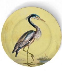 Heron  1800's bird artwork  on 10 inch Melamine by TheMadPlatters,