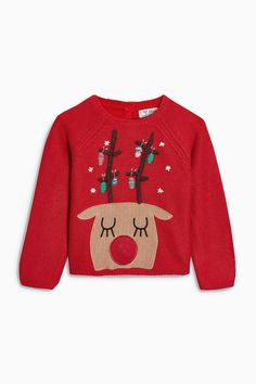 Buy Red Reindeer Christmas Jumper (3mths-6yrs) online today at Next: United States of America