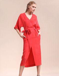 Red Half Sleeve Belted Split Hem Shift Casual Dress