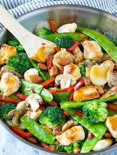 This recipe for chicken almond ding is a stir fry full of chicken, veggies and crunchy almonds, all tossed in a savory sauce. The perfect healthy dinner that's ready in a flash! (sauce for chicken) Chicken Almond Ding Recipe, Chicken Salad Recipe With Almonds, Almond Chicken, Chicken Salad Recipes, Homemade Chinese Food, Asian Recipes, Healthy Recipes, Easy Recipes, Easy Meal Plans