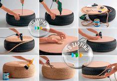 Manualidades Recicladas Con Neumáticos - Tozapping.com Ideas Paso A Paso, Tire Art, Straw Bag, Picnic, Basket, Projects, Diy, Bags, Craft