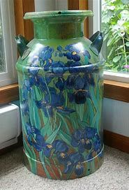 Country Western Hand Painted Milk Cans, Hand Painted Milk Cans Painted Trash Cans, Painted Milk Cans, Painted Pots, Paint Cans, Hand Painted, Old Milk Cans, Milk Jugs, Milk Can Decor, Vintage Milk Can