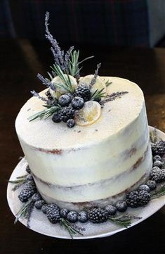 Semi naked cake with lavender, rosemary, lemon and berries - . - Semi naked cake with lavender, rosemary, lemon and berries - Lemon Wedding Cakes, Fall Wedding Cakes, Beautiful Wedding Cakes, Gorgeous Cakes, Pretty Cakes, Berry Wedding Cake, Lavender Wedding Cakes, Cupcakes, Cupcake Cakes