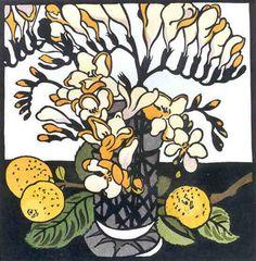 ✦   'yellow freesia'  -  kit hiller  -  linocut