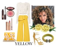 """""""Yellow Set No.464"""" by vintagelady52 ❤ liked on Polyvore featuring Rosie Assoulin, A.L.C., Giuseppe Zanotti, Charlotte Olympia, Konstantino, Latelita and Charlotte Tilbury"""