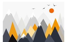 Grey Geometric Mountains Wallpaper Wall Mural, Triangle Mountains Hills Seagull with Sun Geometric N - - Wallpaper Paste, Custom Wallpaper, Photo Wallpaper, Wall Wallpaper, Geometric Mountain Wallpaper, Smooth Walls, Cleaning Walls, Traditional Wallpaper, Wall Murals
