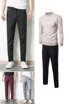 5601292e4d Plain Slim Mens Casual Pencil Pants Pants fashion Big Men Fashion