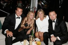 Bradley Cooper and Leonardo DiCaprio with their moms at a Golden Globes after party