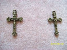 Crucifix Cross Charms Bronze Alloy by GetStoneCreations on Etsy