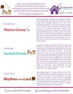 NEW KINDERMUSIK UNIT THEMES BEGIN THIS WEEK. What a perfect time to join us! See the descriptions below. Curious to know the schedule, times, days, etc? All is listed at the link here: growandsing.com/trialweek. We hope to meet you soon... on zoom! #kindermusik #VirtualCircleTime #activitiesforchildren #childrensmusic #musicmonday