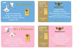 $149.99 - PRINCE GEORGE & PRINCESS CHARLOTTE 24 KARAT GOLD 1 GRAM MEMORABILIA SOUVENIER CARD #PrinceGeorge  #PrincessCharlotte #RoyalBabyGift #RoyalBabySouvenir #PrincessCharlotteSouvenier #PrinceGeorgeSouvenir  #24KGold #GoldRoyalBabyBar #KaratGrams  Bridgeport Webstore