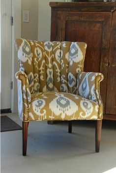 Channel back chair in ikat