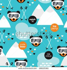 Seamless retro winter fox and grizzly bear woodland ski slope illustration background pattern in vector by Maaike Boot, via ShutterStock