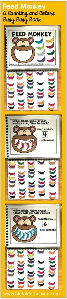 This Feed Monkey Colors and Counting Adapted Book is an adapted book that focuses on colors and counting in a fun and interactive way. In a small group, independent center or independent work station. A teacher or student reads through the book and feeds the animal or critter, the correct number and color the food on each page. Sample text