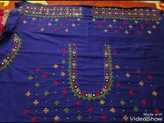 Kids Blouse Designs, Blouse Neck Designs, Traditional Blouse Designs, Mirror Work Blouse Design, Kutch Work Designs, Youtube, Kutch Work Saree, Embroidery Works, Saree Blouse