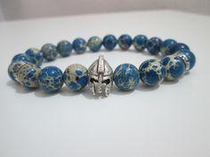 Pulsera Hombre de Variscita azul piedras semipreciosas,casco espartano plateado de Lenajoyas en Etsy