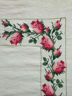 Cross Stitch Borders, Cross Stitch Rose, Cross Stitch Flowers, Cross Stitch Designs, Cross Stitching, Cross Stitch Patterns, Embroidery Patterns Free, Beaded Embroidery, Cross Stitch Embroidery