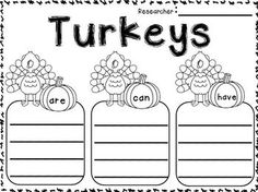 """FREEBIES in the Download Preview!!! Turkeys and Thanksgiving Informational Writing Unit for 1st and 2nd Grade!! All about Turkeys """"simple research"""". All about the First Thanksgiving """"simple research"""" for young learners! Tons of FUN writing printables!!!!!"""