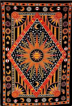Labhanshi Twin Golden Burning Sun Tapestry, Celestial Sun Moon Tapestries, Indian Hippie Wall Hanging, Bohemian Bedspread, Astrology Tapestries Throw Wall Decor