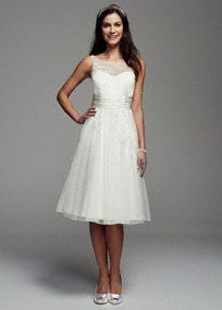 David's Bridal Collection Sleeveless Dot Tulle Illusion Neckline Short Gown, Style MK3690 #davidsbridal #weddingdress #springwedding