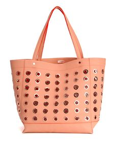 This peach structured grommet tote holds files, laptops, ipads, you name it! #spring #springhandbags #deuxlux #comingsoon