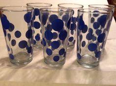 Vintage Set (6) KIG Indonesia   Drinking Glasses - Barware Blue Polka Dots