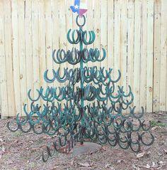 Vintage Christmas Tree Decoration Texas Style Horse Shoe Tree. $250.00, via Etsy.