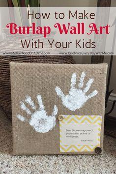 Easy DIY Burlap Wall Art that kids can make