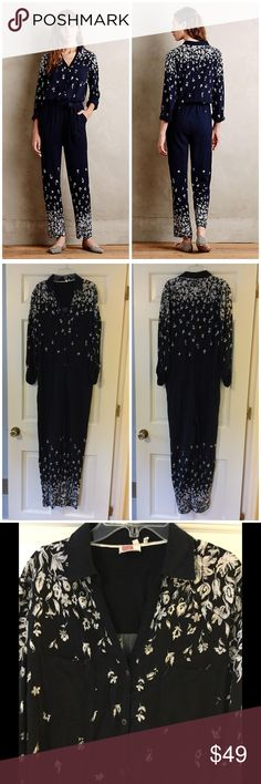 """Anthro Lilka Lakeshore Jumpsuit Rayon knit Set-in waist Roll-tab sleeves Side slant, back welt pockets Button front Machine wash Underarm across 18"""". Length shoulder to hem 61"""". Inseam 28"""" Excellent condition. EUC. Retail price $138. Smoke free and pet free home, Anthropologie Pants Jumpsuits & Rompers"""