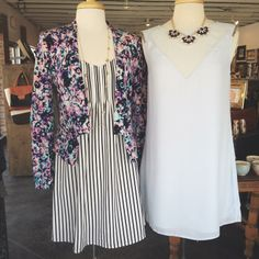 Spring Ahead//Flower Bomb Silk Blazer, Frenchie Dress, Shouldered Dress #shopmaude #spring