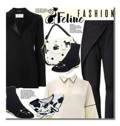 """""""Feline Fashion (black pantsuit)"""" by beebeely-look ❤ liked on Polyvore featuring Maison Margiela, Charlotte Olympia, blackandwhite, blackoutfit, StreetChic, catstyle and dezzal"""