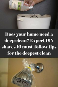 Does your bathroom need a deep clean? Follow these tips for the deepest clean for every part of your bathroom, the shower, the toilet, the tub, and the sink!  #bathroom #cleaning #cleaningtricks #cleaninghacks #cleaningtips