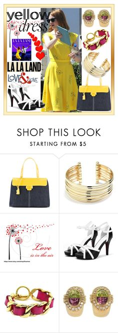 """""""Yellow Dress & La La Land"""" by westcoastcharmed ❤ liked on Polyvore featuring Myriam Schaefer, Belk Silverworks, Chanel, H.Stern and yellowdress"""