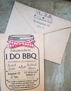 This invitation and envelope set is a must have for your upcoming I DO BBQ wedding shower, couples shower or engagement party! Backyard Wedding Invitations, Casual Wedding Invitations, Reception Invitations, Shower Invitation, Mason Jar Invitations, Invites, Backyard Bbq, Wedding Backyard, Backyard Ideas