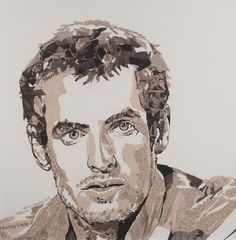 Natasha Archdale. This is portrait of Andy Murray collaged using brown toned newspaper. What I like about this is that she has used the paper to create a tonal portrait. She has used the text on the newspaper to show darker areas. Also what I like is that scattered within the portrait Archdale has used text from articles associated with Andy Murray.