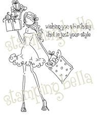 Stamping Bella Unmounted Rubber Stamp-Uptown Girl Posh Has A Prese 666307131313