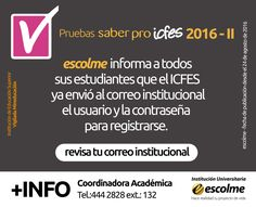 @Escolmeeduco ¡Ya puedes consultar en tu correo institucional el usuario y la contraseña generada por el ICFES!