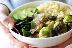 Brussels Sprouts & Quinoa Salad - Packed with dark leafy greens, crispy roasted brussels sprouts, fluffy couscous, creamy avocado and a super simple vinaigrette -- this Roasted Brussels Sprout & Couscous Salad is nutrient-dense, filling and delicious. Sprouts Salad, Brussel Sprout Salad, Brussels Sprouts, Healthy Salad Recipes, Vegetarian Recipes, Cooking Recipes, Healthy Meals, Cooking Ideas, Vegan Clean