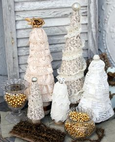 Vintage lace trees by isa creative musings vintage christmas make your own homemade lace crafts to your home with practical suggestions that help you to turn your decoration ideas into reality solutioingenieria Image collections