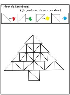 Discriminer les 4 orientations de triangles rectangles formant un sapin. Colorier ces triangles selon leur orientation, en respectant un codage de couleurs choisi. Christmas Activities For Kids, Book Activities, Christmas Fun, Xmas Theme, Theme Noel, Visual Perceptual Activities, Preschool Math, Fun Crafts, Art For Kids