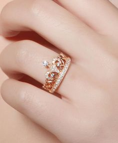 Check this morganite unique engagement ring set from Camellia Jewelry. Scrupulously handmade in fine detail, it is a unique two tone gold ring set that will show her how much you care without breaking the bank. The engagement ring features an half eternit Hand Jewelry, Cute Jewelry, Jewelry Rings, Jewelry Accessories, Jewelry Design, Designer Jewelry, Jewlery, Cute Rings, Pretty Rings