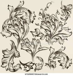 Drawing of Collection of vector vintage swirl ornaments for design
