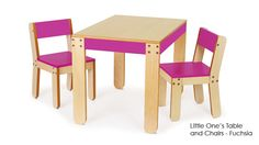 Fuchsia children play table and chairs perfect for toddlers activities and arts and crafts. Practical and playful table and chairs are great for kids working on arts and crafts projects at preschool or at home.